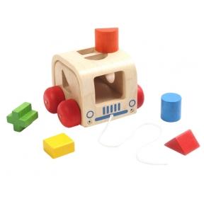 Medinis žaislas - Traukimas figūrų automobiliukas