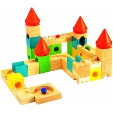 Medinių spalvotų kaladėlių rinkinys Kaladėlių pilis