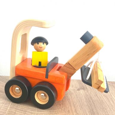 Medinė statybinė mašinėlė žaislinis kranas