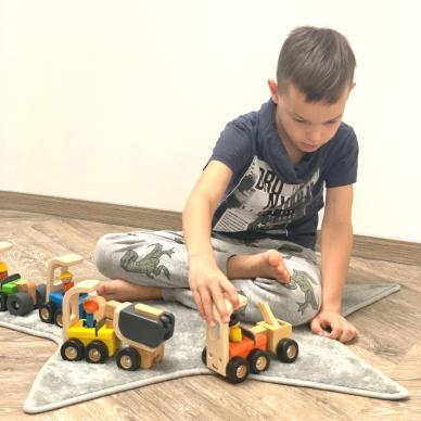 Medinė statybinė mašinėlė žaislinis kranas 3