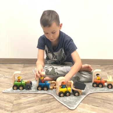 Medinė statybinė mašinėlė žaislinis kranas 4