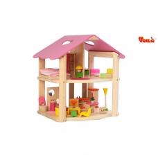 Rožinis medinis lėlių namas su baldais