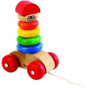 Medinis žaislas piramidė Žiedeliai ant ratukų